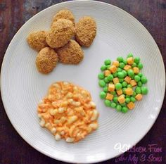 April fools dinner...the mac and cheese seems a little involved, but the chicken nuggets are clever.