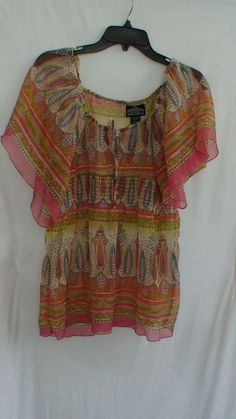 Loehmann's Angie Hippie Gypsy Sheer Blouse Women's Size L #Angie #Blouse