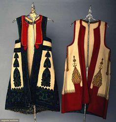 Albania, Regional Wool Coats, Both cream boiled wool, sleeveless, hip length… Ethno Style, Hand Embroidery Dress, Fashion Models, Fashion Outfits, Dress Neck Designs, Mode Boho, Ethnic Dress, Vintage Style Dresses, Folk Costume
