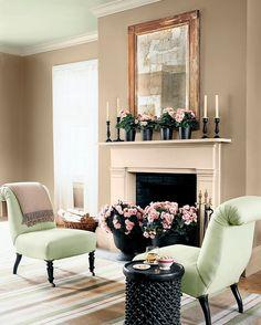 Soft neutrals create a serene living room.