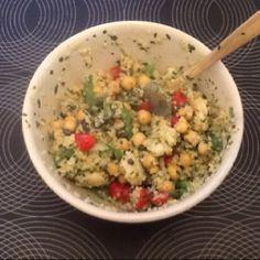 Morrocan-ish summer salad: quinoa, shrimp, green beans, tomatoes, chickpeas with dressing of plain yogurt, cumin, coriander, lemon, cinnamon, honey & lots of cilantro in the food processor.