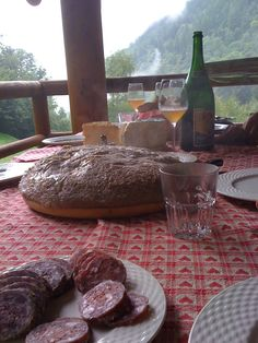 Our rustic lunch in the mountains featuring buckwheat polenta.