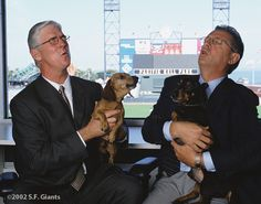 2002 @ Pacific Bell Park: MIKE KRUKOW (left) and DUANE KUIPER (right) do the post-game wrap with Jon Miller and Dave. wait a minute. Dave Flemming didn't join the Giants until so that can't be Dave. OK, fine. I don't know who those two other guys are. Sf Giants Players, Casey At The Bat, 2014 World Series, Bye Bye Baby, San Francisco Giants Baseball, The Sandlot, Dachshund Dog, Daschund, Thanks Mom