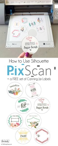 How to Use Silhouette PixScan - tutorial and free set of Canning Jar Labels! - How to Use Silhouette PixScan – tutorial and free set of Canning Jar Labels! Machine Silhouette, Silhouette Cutter, Silhouette School, Silhouette Vinyl, Silhouette Files, Silhouette Design, Silhouette America, Silhouette Cameo Free, Silhouette Cameo Tutorials