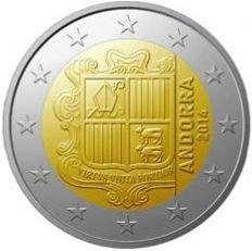 """ANDORRA 2 euro Al centro lo stemma di Andorra; a destra il millesimo di conio e la scritta """"ANDORRA"""". Intorno 12 stelle a cinque punte rappresentanti l'Unione Europea."""