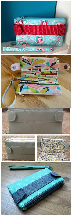 The perfect wallet sewing pattern? Space for cards, 2 pockets for notes etc, 2 zipper pockets for coins and even holds a phone! Optional wrist strap AND it comes with a full step by step sewing video. It's a winner!