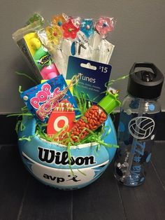 Fun Sports Easter Basket Ideas for boys and girls! Easter basket ideas Fun Sports Easter Basket Ideas for boys and girls! Volleyball Senior Gifts, Volleyball Crafts, Senior Night Gifts, Cheerleading Gifts, Basketball Gifts, Sports Gifts, Girls Basketball, Softball Gifts, Volleyball Party