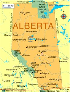 Map of the province of Alberta (Western Canada). Edmonton is the capital city of Alberta. Tour Du Canada, Canada Eh, I Am Canadian, Canadian Rockies, Ontario, Quebec, Puerto Rico, Western Canada, We Are The World