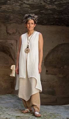beige harem pants, thin linen tunic opened backside ( see full screen picture),long linen waistcoat.
