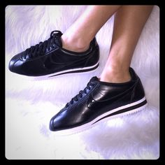NIKE CORTEZ PATENT BLACK ROSE GOLD WMNS SZ 7 NO TRADES!USE OFFER BUTTON‼️WOMENS SIZE 7. Brand new! Amazing sneakers!  Wish these were in my size! Black leather with a patent black nike check. Classic Colorway! You can't go wrong with a black and white shoe! ROSE GOLD lettering.  I only have 1 of these for sale!! Don't miss out! ALL MY ITEMS ARE 100% AUTHENTIC. CHECK OUT MY FEEDBACK.  I have lots of other Nikes for sale. Please check out my closet! Nike Shoes Sneakers