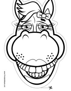 This fun horse mask has a bow and plenty of big horse teeth for you to color. This little pony is wearing lipstick, so you know she's a lady! Free to download and print