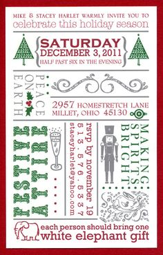 Holiday Party Invitation  Set of 12 by thehouseofsmith on Etsy