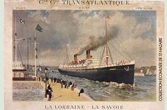 Packetboats La Lorraine and La Savoie C G T Shipping Line Paris to New York : Print Lorraine, Vintage Ads, Vintage Posters, Le Havre, Beauty Inside, Print Advertising, New York, France, Ship Art
