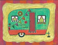 camping art, vintage camper, camper, outdoor art, happy camper, rv, rv art, the great outdoors, the good life, live simply, fresh air, camp - pinned by pin4etsy.com