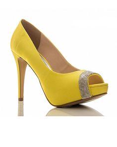 Sapato noiva amarelo intensos com cristais!