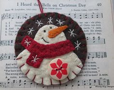 Ivory Wool Felt Snowman Ornament, Christmas Red Wool Felt Scarf, Chocolate Brown Wool Felt Background Color