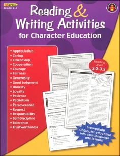 Reading and Writing Activities for Character Education Grades 2-4 | Main photo (Cover)