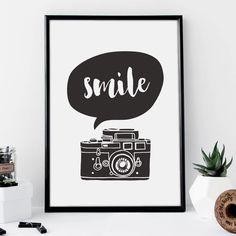 Smile http://www.notonthehighstreet.com/themotivatedtype/product/smile-camera-illustration-typography-print @notonthehighst #notonthehighstreet