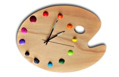 to make or purchase for wall clock in creating-space, to inspire me!  artist palette wall clock (with real paint globs for the numbers!)   (unique art studio decor, artist gift)