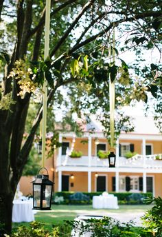 Hanging lights on trees, black lanterns, green ribbon // Riverland Studios Southern Weddings, Unique Weddings, Real Weddings, Black Lantern, Wedding Lighting, Green Ribbon, Tree Lighting, Hanging Lights, True Beauty