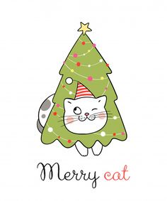 Draw cat with tree for christmas day Premium Vector Christmas Party Themes, Christmas Cards To Make, Noel Christmas, Christmas Cats, Handmade Christmas, Hygge Christmas, Vector Christmas, Christmas Decorations, Drawing Cartoon Faces
