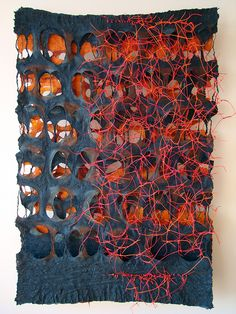 Jiyoung Chung: Whisper-Romance: Contented, 35 in x 23.5 in, One-of-a-kind Joomchi with paper yarn, 2013