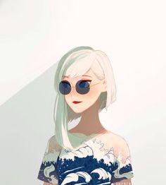 Megan: Perfil Físico: ela se destacava naquele lugar,tem um cabelo tão loiro que chegava ser branco no geral era curto mais tinha uma mecha que era mais comprido...seus olhos azuis era grande por causa maquiagem. seus lábios finos era pintado de vermelho. Seus olhos serenos se escondiam atrás das lentes semitransparentes do óculos redondos . seu rosto estava um leve avermelhado como se por um acaso estivesse pensando em algo maliciosos.