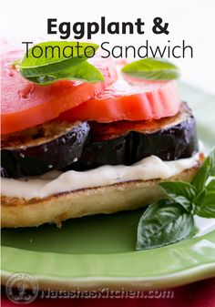 This healthy Open-Faced Eggplant and Tomato Sandwiches recipe is a light and delicious vegetarian recipe that is perfect for a satisfying lunch.