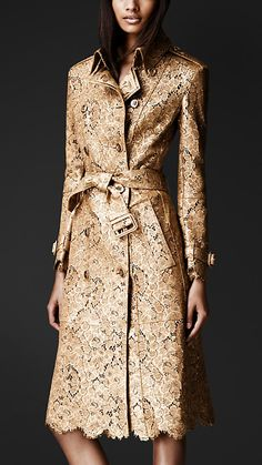 Burberry Prorsum Laser-Cut Leather Trench Coat