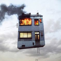 """Flying Houses"", a series of surreal photographs by French photographer Laurent Chéhère, who won several awards for his campaigns for Audi, Nike, etc.. ""Flying Houses"" is a conceptual project, a shifted thinking about architecture."