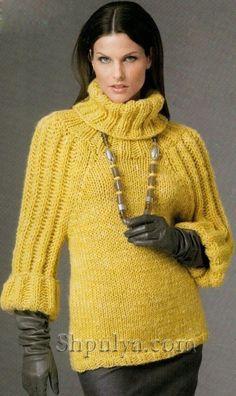 Желтый свитер из толстой пряжи, вязаный спицами