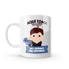 Mug - Aquí toma el mejor ingeniero de sistemas del universo, encuentra este producto en nuestra tienda online y personalízalo con un nombre o mensaje. Chocolate Caliente, Snoopy, Mugs, Tableware, Character, Amor, Coffee Cup, Decorated Bottles, Presents