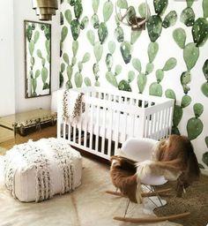 Watercolor wallpaper and all things bohemian #interiordesign #inspo #designlover #nursery #nurserydecor #yesplease #cactus #desertvibes by lovelyabode