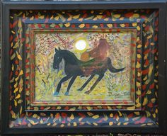 A Headless Horseman Goes Riding, Barbara Strawser, acrylic on wood panel with painted frame, 2014