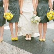 Yellow and Grey Wedding Bridesmaids Bouquets