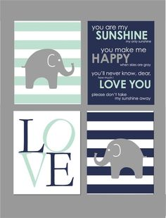 Mint Nursery Decor, Elephant Nursery Decor, Elephant Nursery Art, Baby Boy Nursery Wall Art, Navy Nursery Decor, You are My Sunshine, 8x10s by karimachal on Etsy https://www.etsy.com/listing/489884519/mint-nursery-decor-elephant-nursery