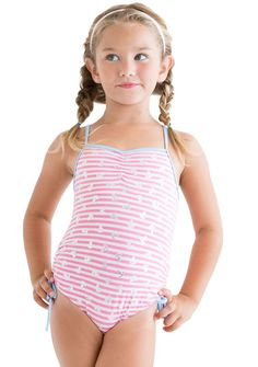 1ee5c743e6 OLIVE OYL pink striped swimsuit with embossed silver anchors by Stella Cove  beach wear for girls