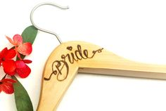 Wedding dress hanger-wood wedding hanger-hand engraved wedding hanger- bridesmaids wood hangers -wire wood hanger - wood hanger -wired twist