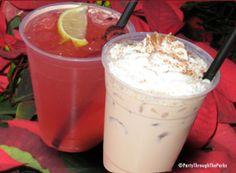 Drink on the right: Kahlua coffee liqueur, Baileys Irish Cream, Amaretto, half & half and whipped cream sprinkled with cinnamon nutmeg