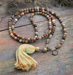 Natural multicolor agate mala necklace - look4treasures on Etsy