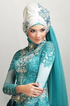 Gambar Gaun Kebaya Pengantin Muslim Modern Warna Biru Terkini 2015