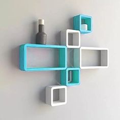 Onlineshoppee MDF Cube Shape Floating Wall Shelves Set of 6 *** You can find out more details at the link of the image. (This is an affiliate link) #FloatingShelves