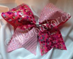 Pink Silver Sequin Cheer Bow on Etsy, $11.00