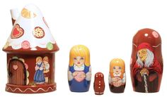 Hansel and Gretel Gingerbread Russian Wood Nesting Dolls