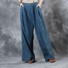 High-Quality Elastic Waist Frayed Bottom Jeans Womans Loose Pants    #pants #jeans #blue #trousers #loose #woman #fashion