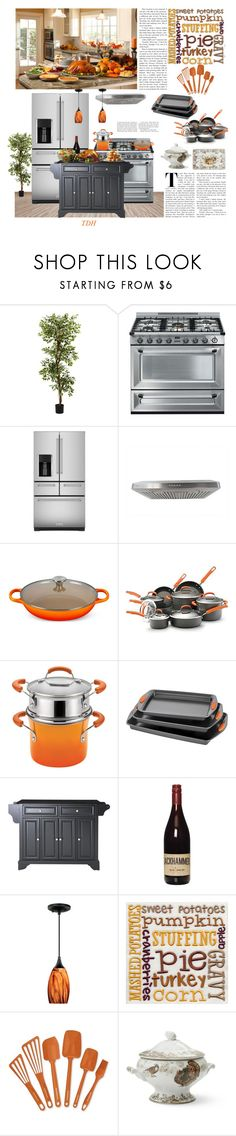 """""""Thanksgiving Feast"""" by talvadh ❤ liked on Polyvore featuring interior, interiors, interior design, home, home decor, interior decorating, Nearly Natural, Smeg, KitchenAid and Kobe"""