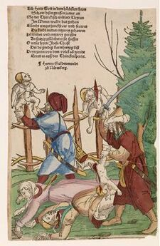 Turkish Atrocities in the Vienna Woods, c.1530, Erhard Schön, published by Hans Guldenmund