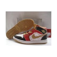 Air Jordan 1 (I) Retro China Xq White/Gold Dust /Sport Red/Black 1054 For $54.50 Go To:  http://www.basketball-mall.com