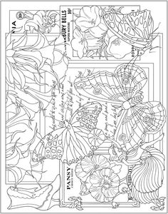 Escapes Collage Art Coloring Book Page Freebie | Dover Publications New Adult Coloring Series | Butterflies & Flowers