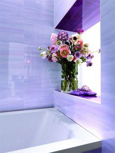 Wall/floor tiles, so pretty. Plum Bathroom, Diy Bathroom Decor, Fresh Flowers, Purple Flowers, Plum Purple, Million Flowers, Pony Wall, All Things Purple, Purple Stuff